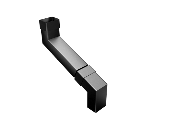 Aluminium Downpipe-Rectangular 2 Part Swaged Offset