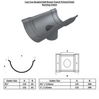 Beaded Half Round Transit Primed Running Outlet