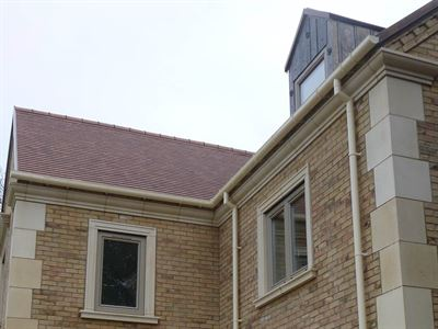 Extruded Aluminium Deepflow Gutter  Downpipes in Oyster White