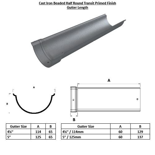 Beaded Half Round Gutter Length Painted Transit Primed